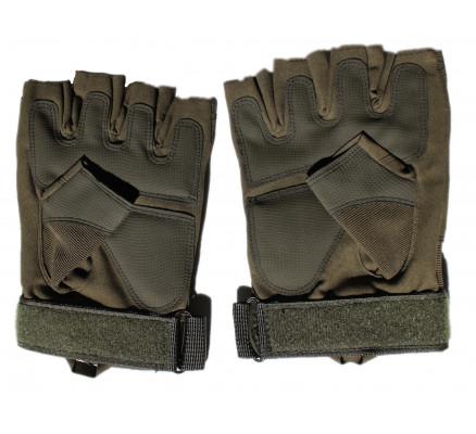 Короткие перчатки оливкового цвета