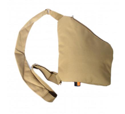 Бежевая треугольная сумка через плечо