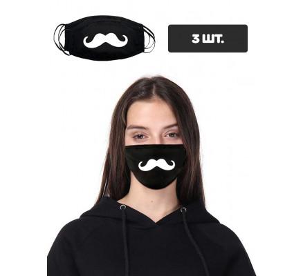 Черная защитная маска с принтом усов, 3 шт.