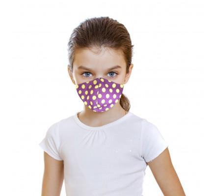 Детская защитная фиолетовая маска в горох