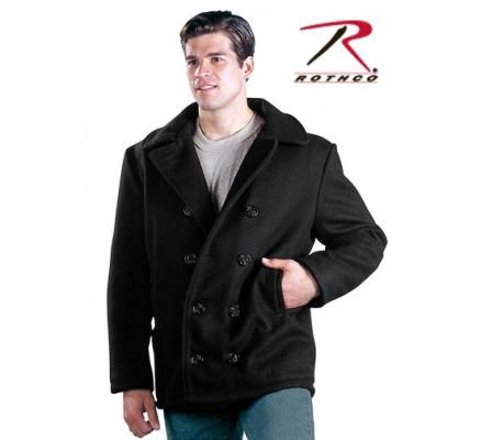 Шерстяное черное пальто 7064