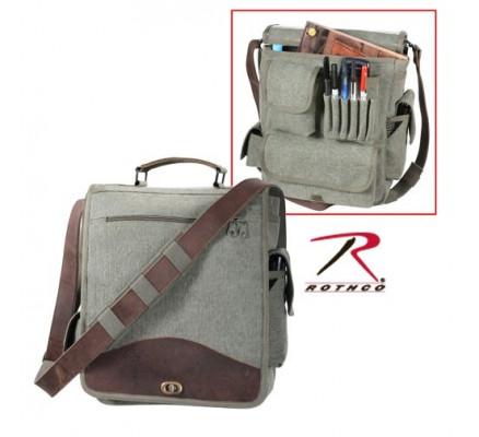 Оливковая сумка с кожаными вставками 8626