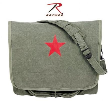 Оливковая сумка со звездой 9129