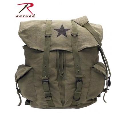 Винтажный оливковый рюкзак со звездой 9158