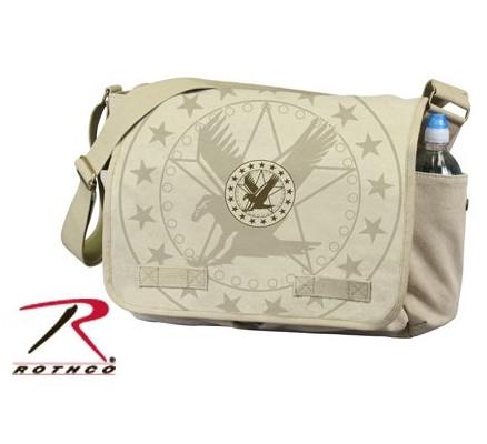 Винтажная сумка Хаки с эмблемой 9844