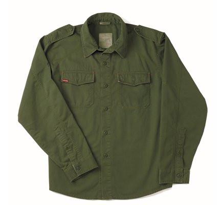 Винтажная рубашка темно-оливковая 2568