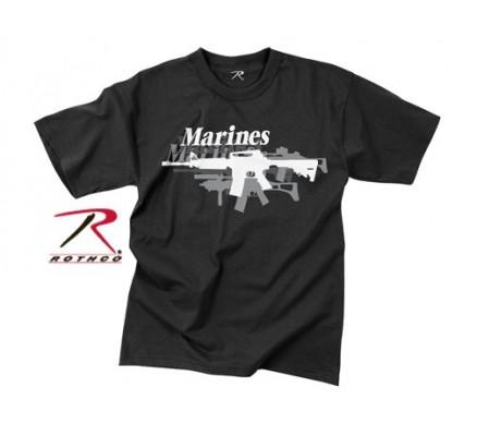 Винтажная черная футболка MARINES GUN  61175