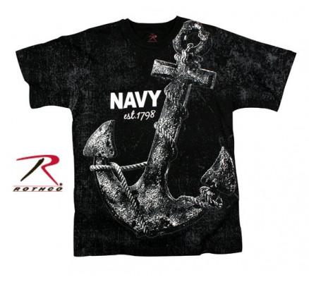 Винтажная черная футболка NAVY ANCHOR 66320