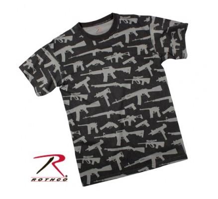 Черная футболка MULTI PRINT GUNS 66350