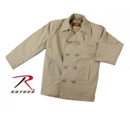 Винтажное хлопковое пальто цвета хаки 7872