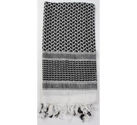 Пустынный шарф Шемаг белый-черный 8537