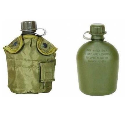 Фляга армейская пластиковая MFH 1л с чехлом olive