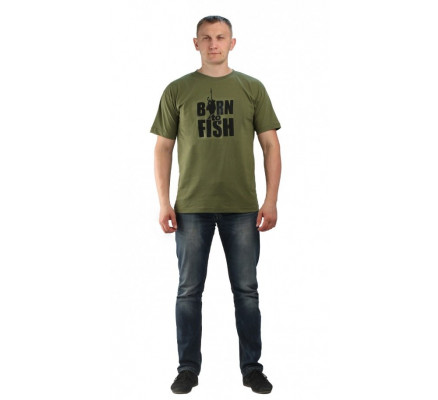 Футболка Born to fish хаки