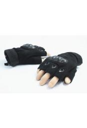 Черные короткие перчатки без пальцев