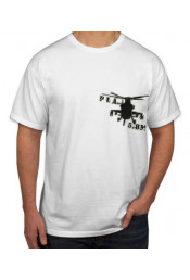 Белая футболка с вертолетом