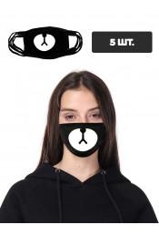 Черная защитная маска с принтом мордочки, 5 шт.