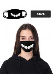 Защитная маска с принтом зубов, 3 шт.