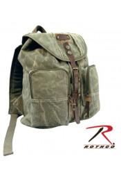 Винтажный рюкзак с кожаными вставками 9168