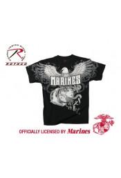 Винтажная черная футболка MARINES 66310