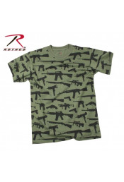 Оливковая футболка MULTI PRINT GUNS 66360