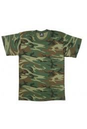 Прочная футболка Лесной камуфляж 9777