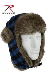 Синяя клетчатая шапка с ушами 9872