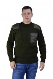 Оливковый свитер с накладками