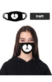 Черная защитная маска с принтом мордочки, 3 шт.