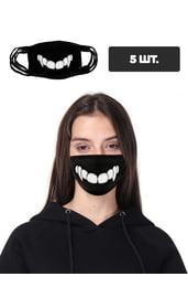 Защитная маска с принтом зубов, 5 шт.